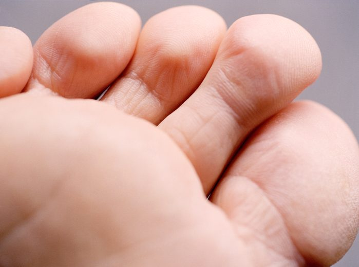 close up of toes