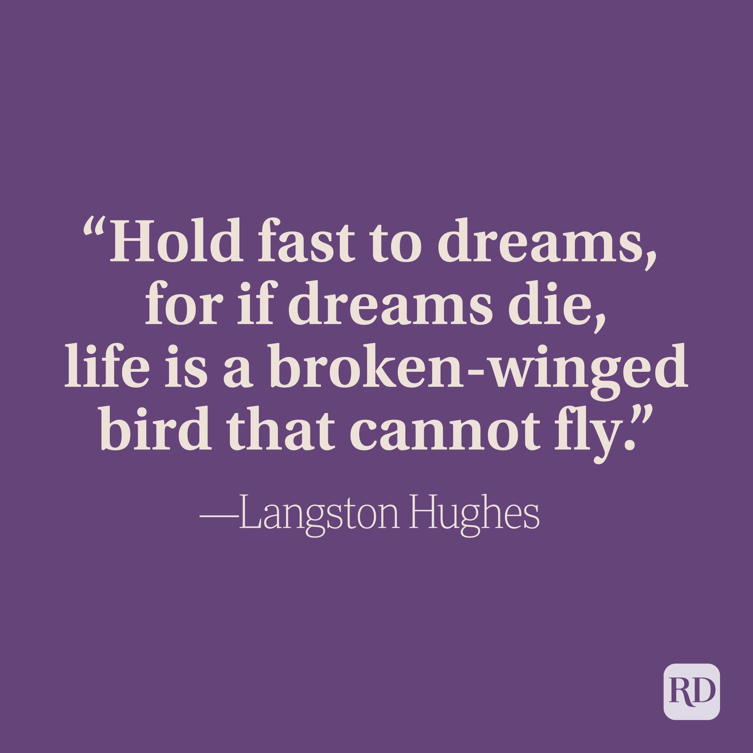 """""""Hold fast to dreams, for if dreams die, life is a broken-winged bird that cannot fly."""" —Langston Hughes"""