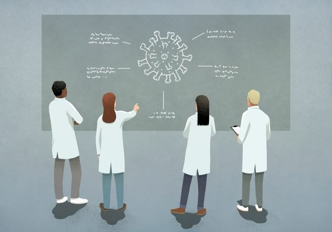 illustration of doctors and scientists examining covid-19