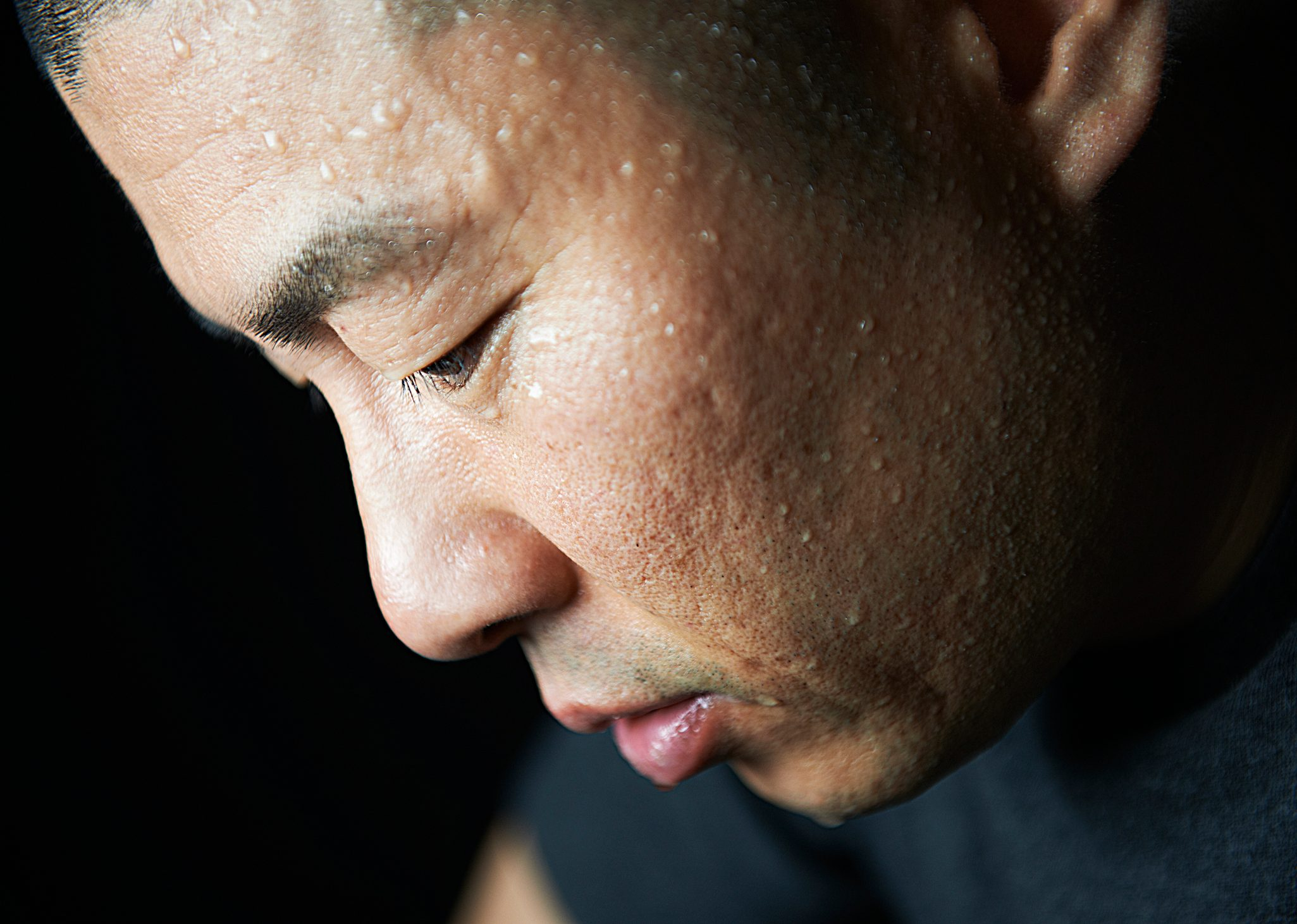 close up of sweat on man's face
