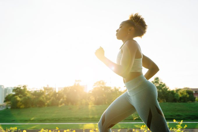woman running for exercise outside