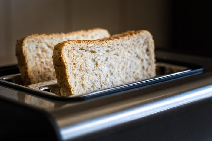 close up of bread in toaster
