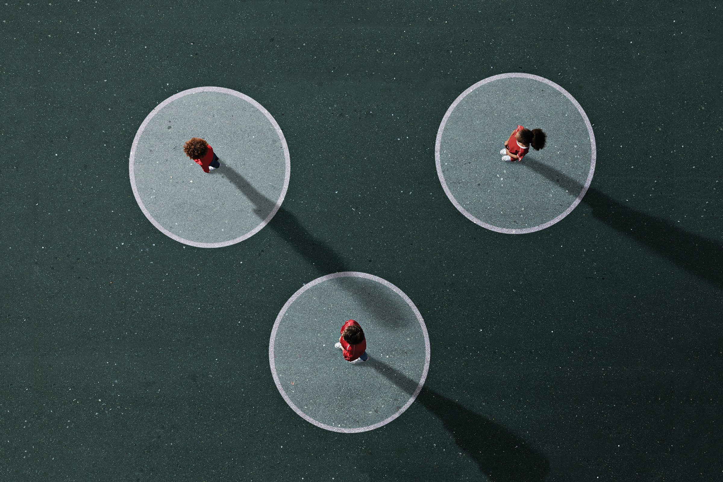 3 people standing in separate circles