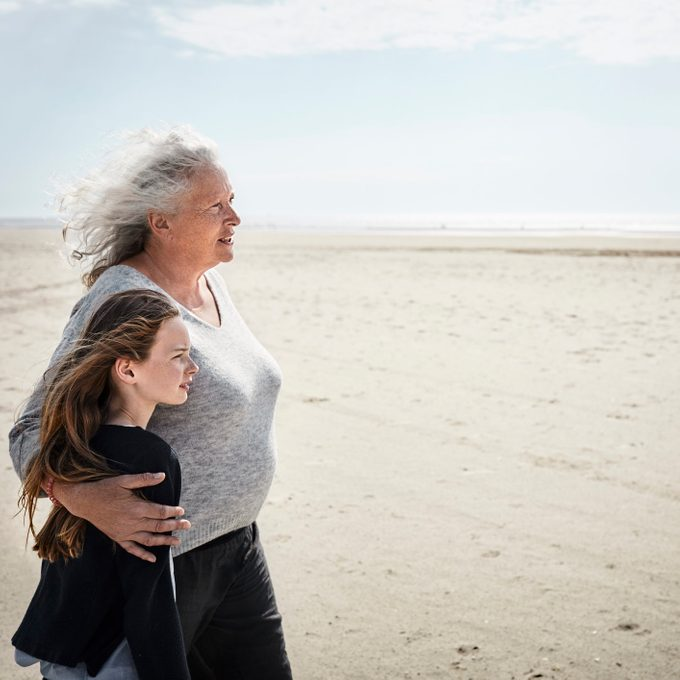 granddaughter and grandmother on the beach