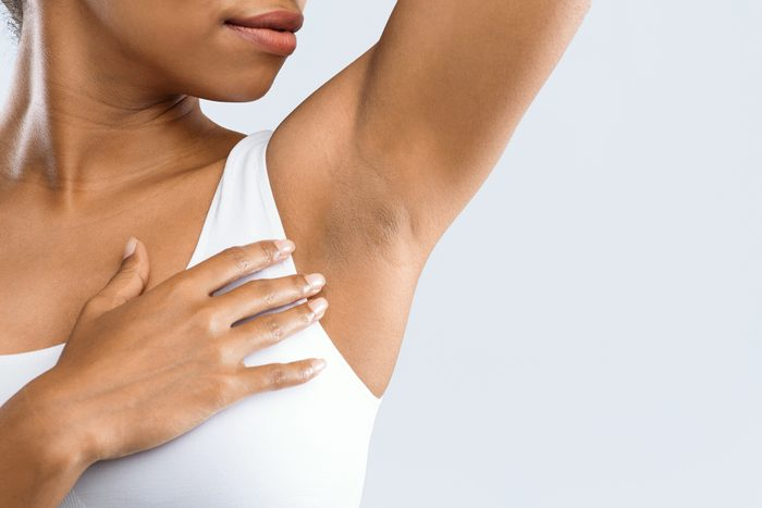 close up of young woman's underarm