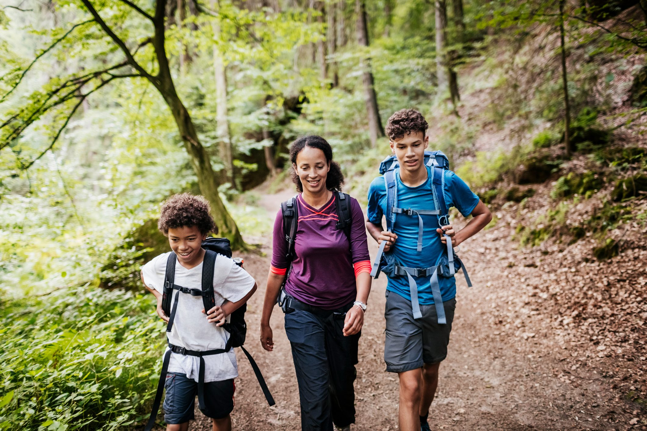 family of three hiking on a woodland trail