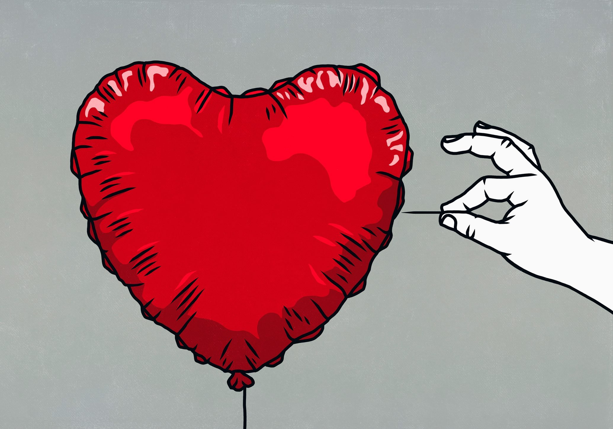 hand with pin ready to pop red heart balloon illustration