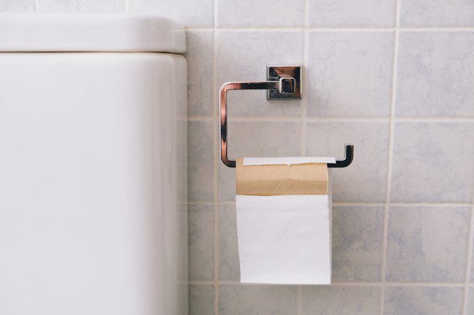 close up of toilet paper roll next to toilet