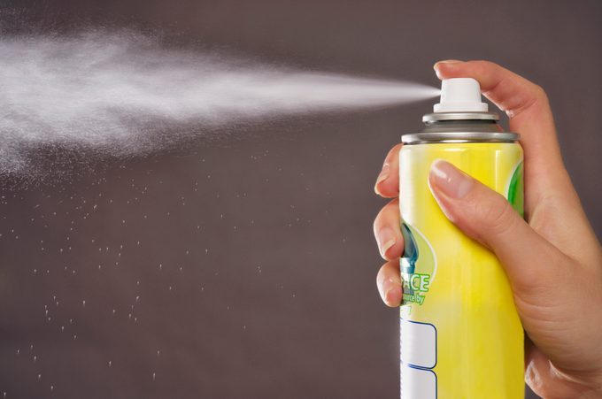 close up of aerosol spray can
