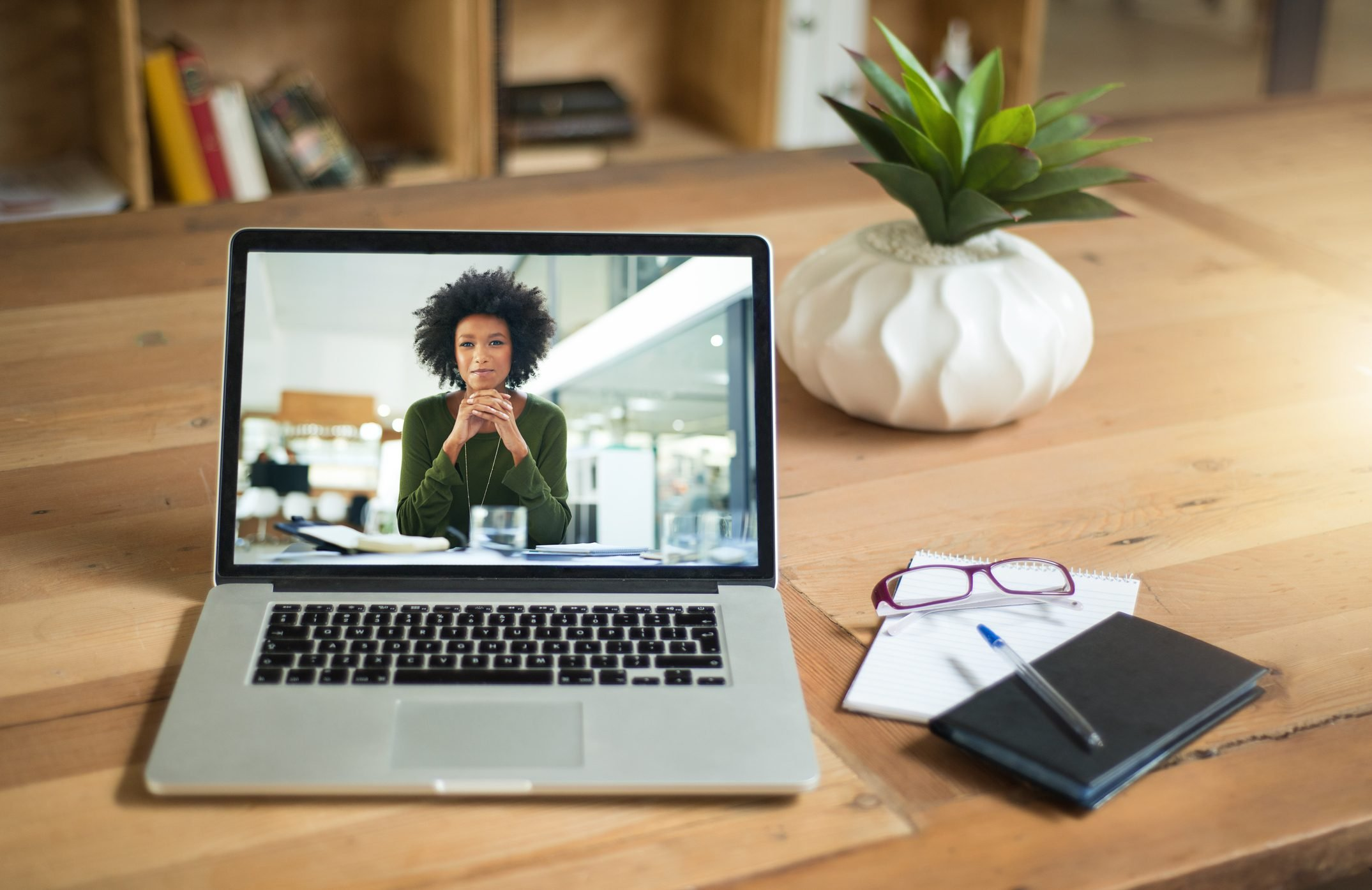 woman on computer screen for video call