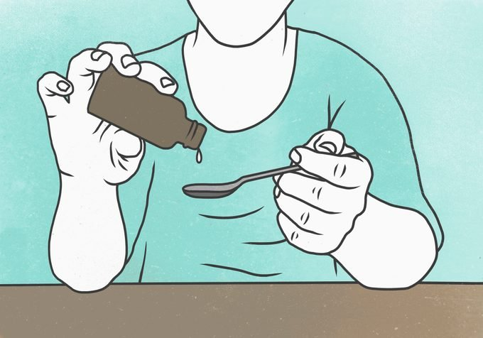 illustration of man pouring cough medicine into spoon