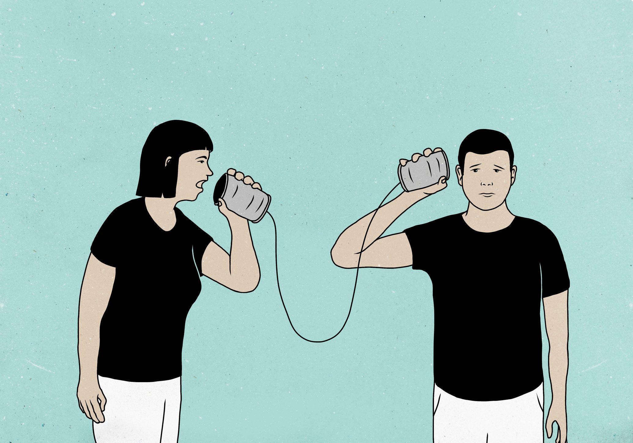 couple communicating through tin cans illustration