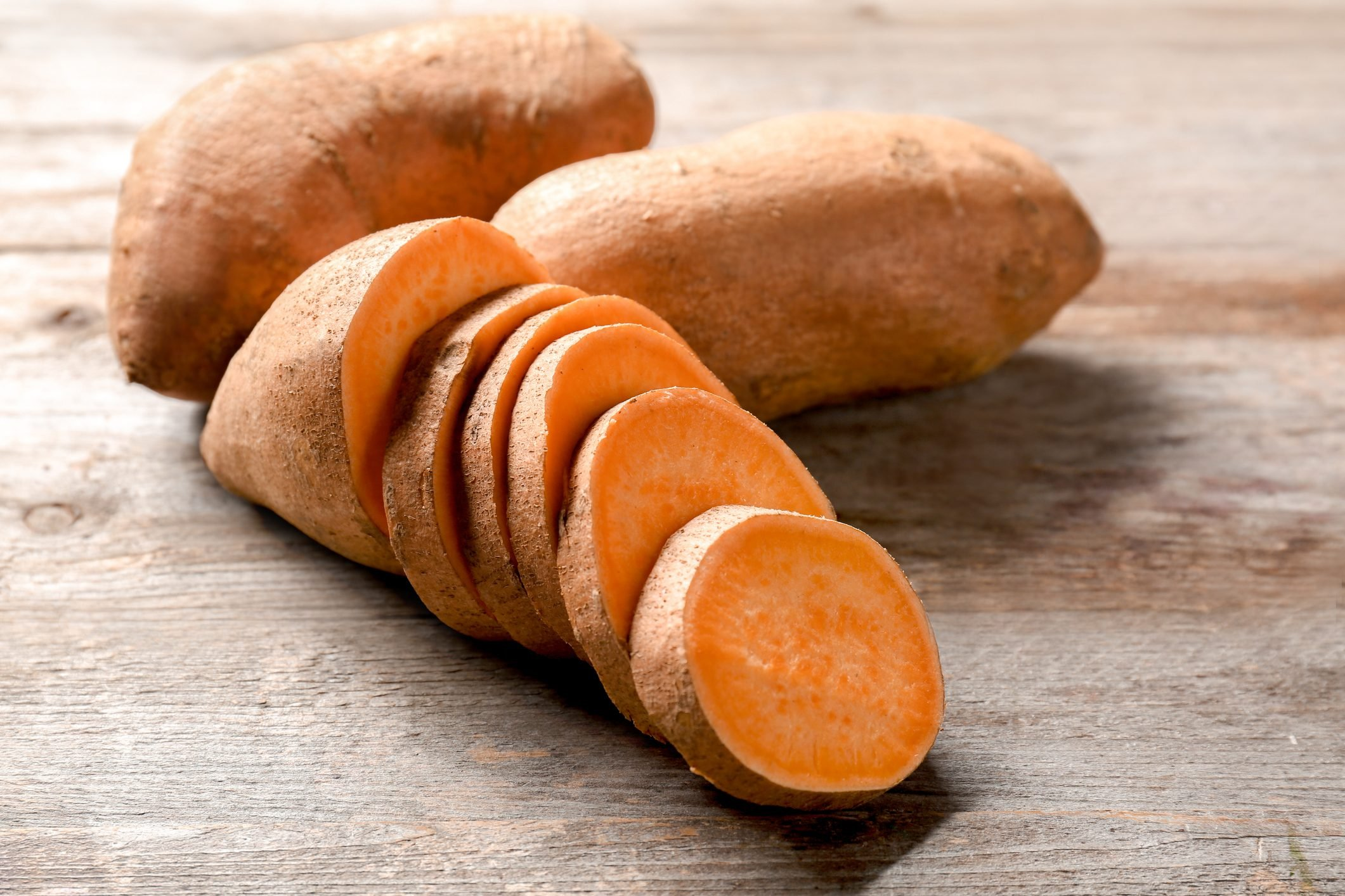 sliced sweet potato