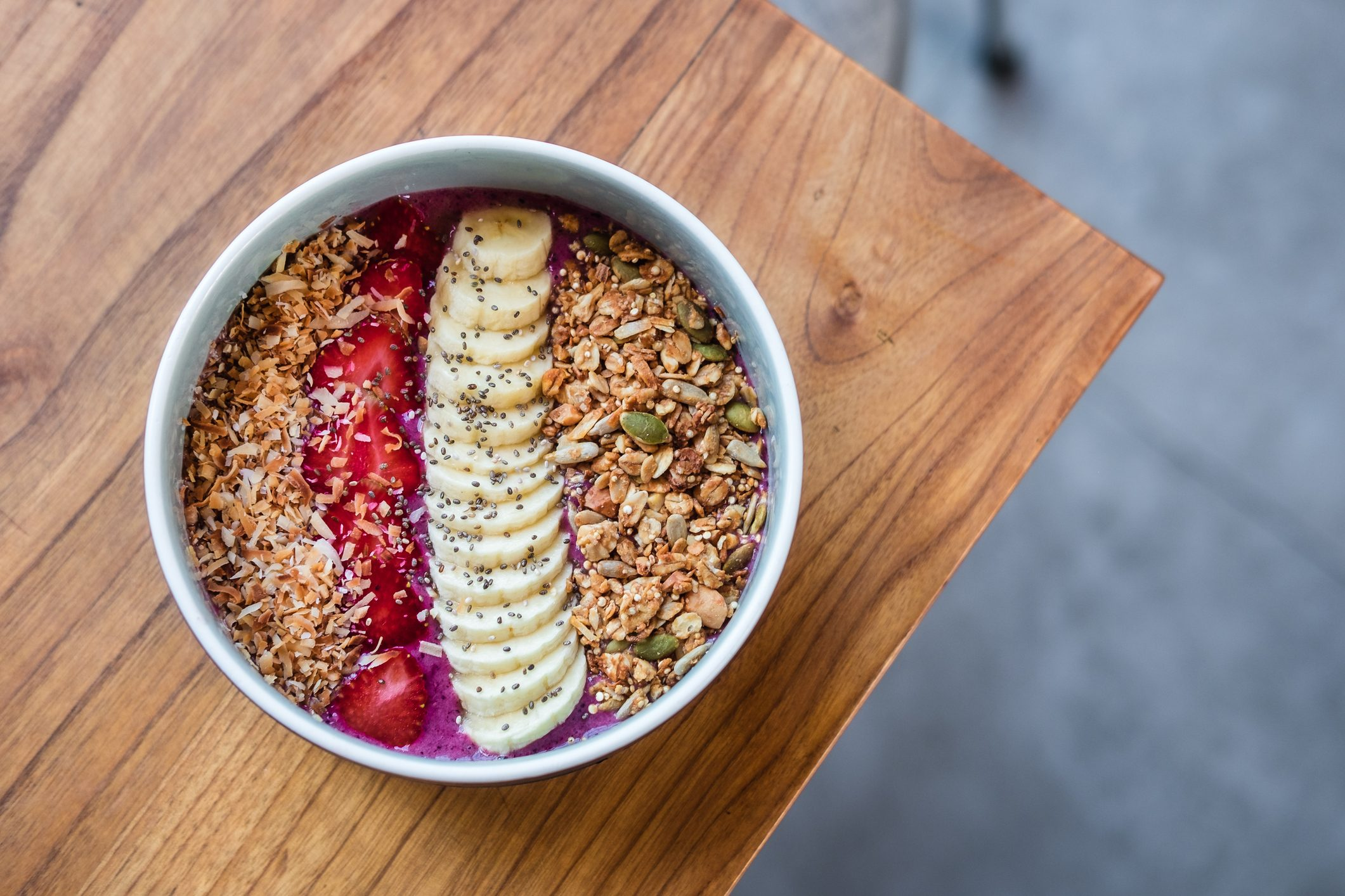 acai smoothie bowl overhead