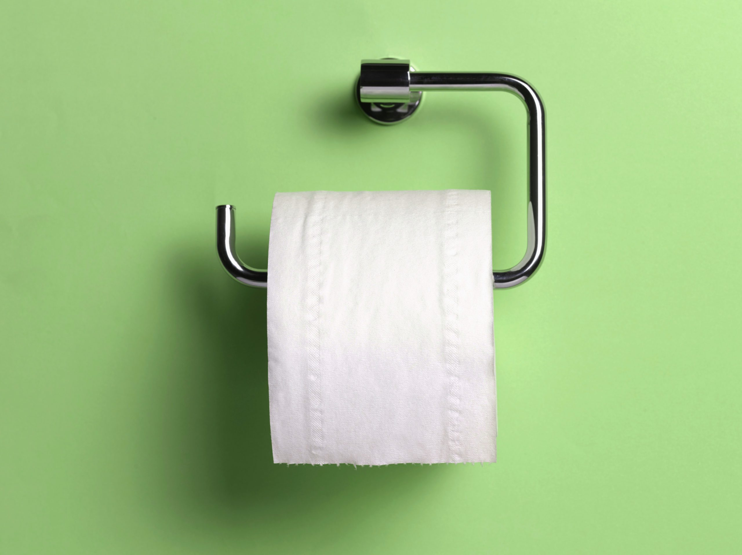 toilet paper holder on green background