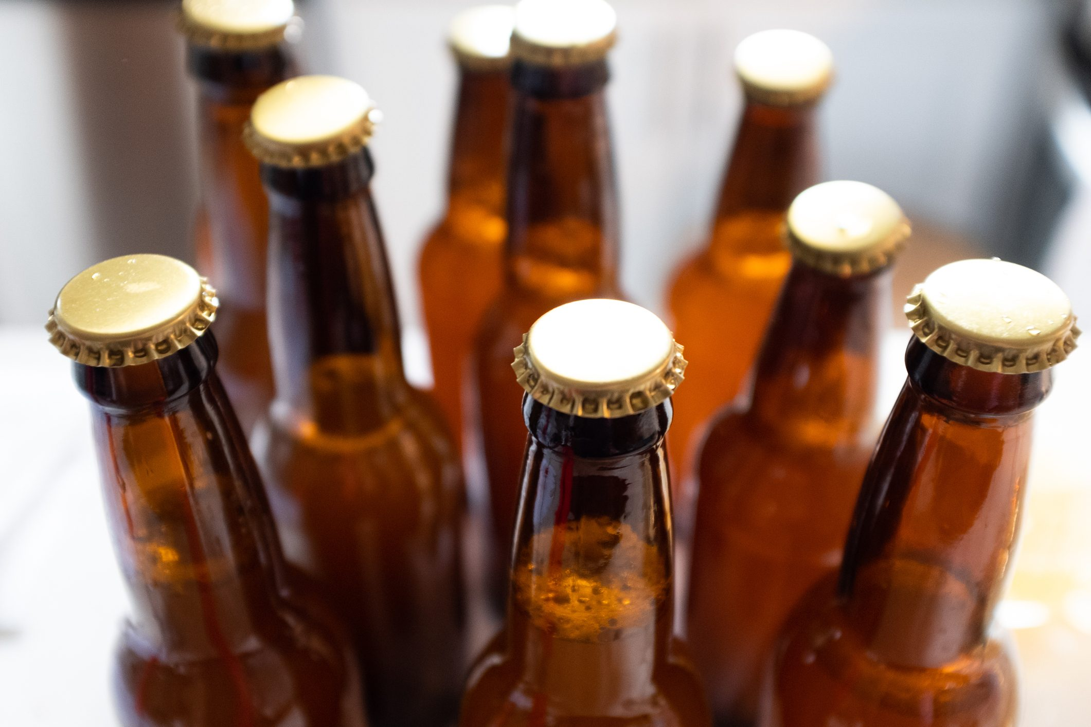 close up of beer bottles