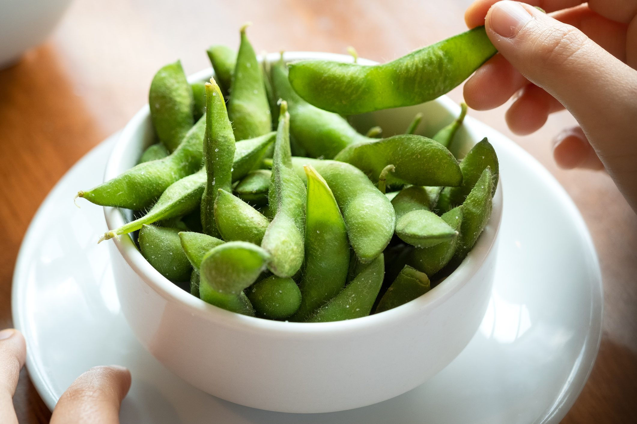 POV, Salted Edamame Beans, Eating Japanese Food by Hand
