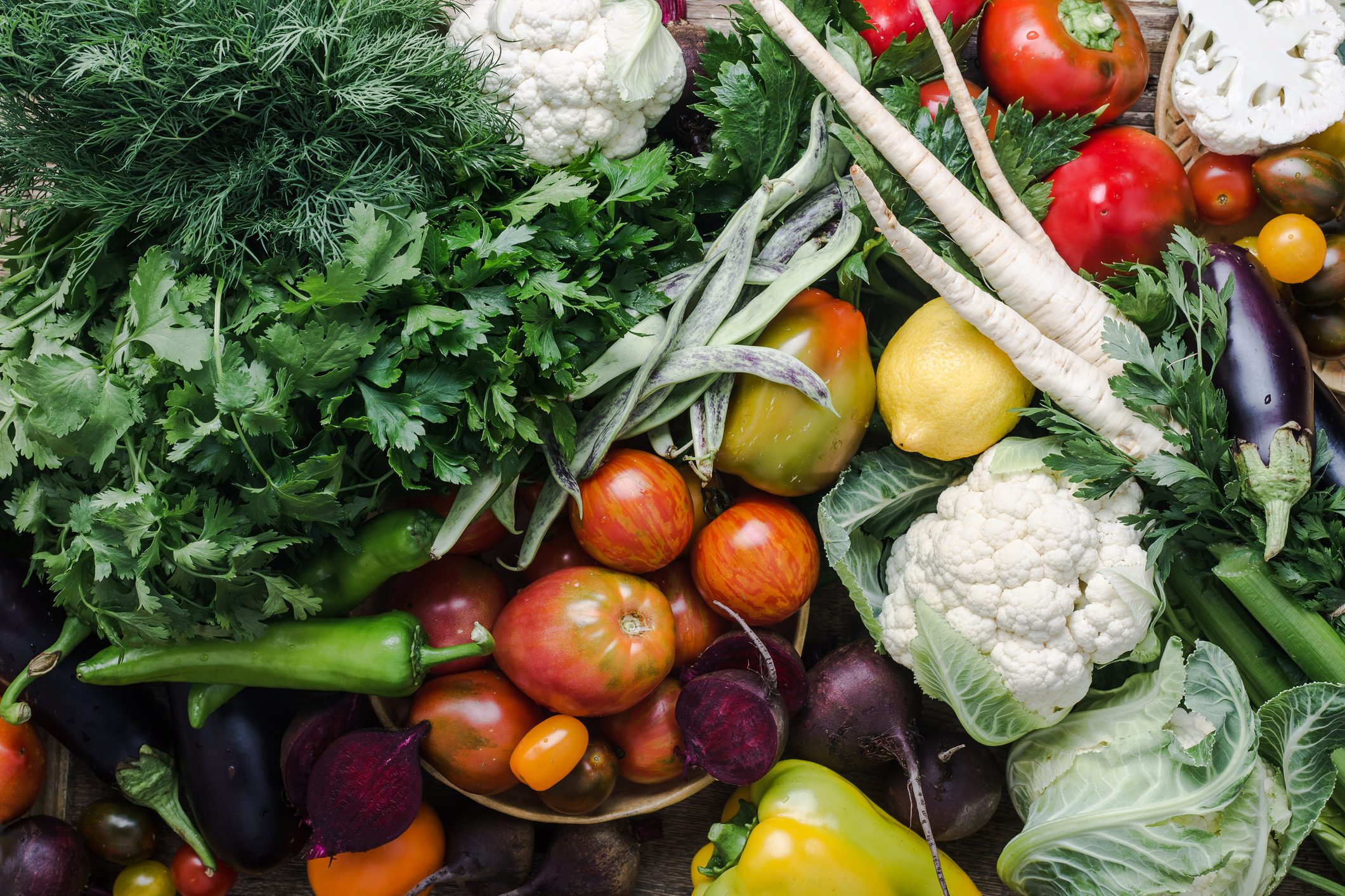 Colorful variety, plant based food, homegrown crop