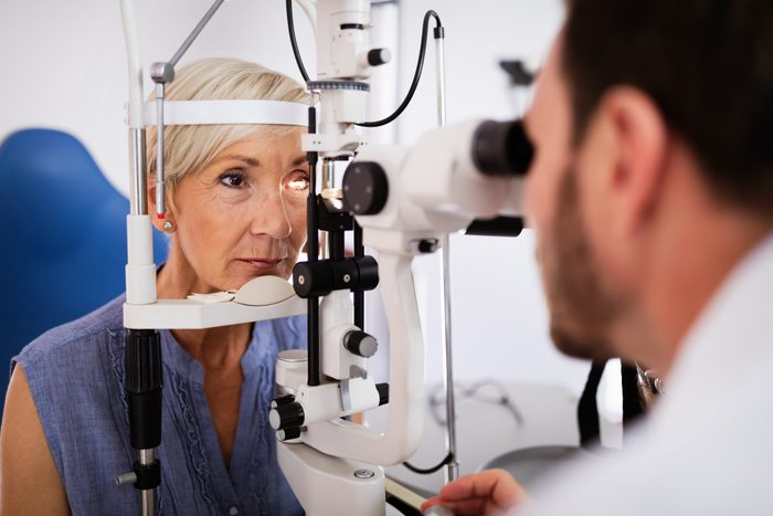 Health care, people, eyesight and technology concept