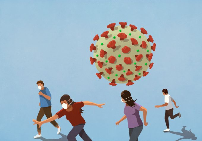 illustration of people wearing face masks and running from covid-19 coronavirus