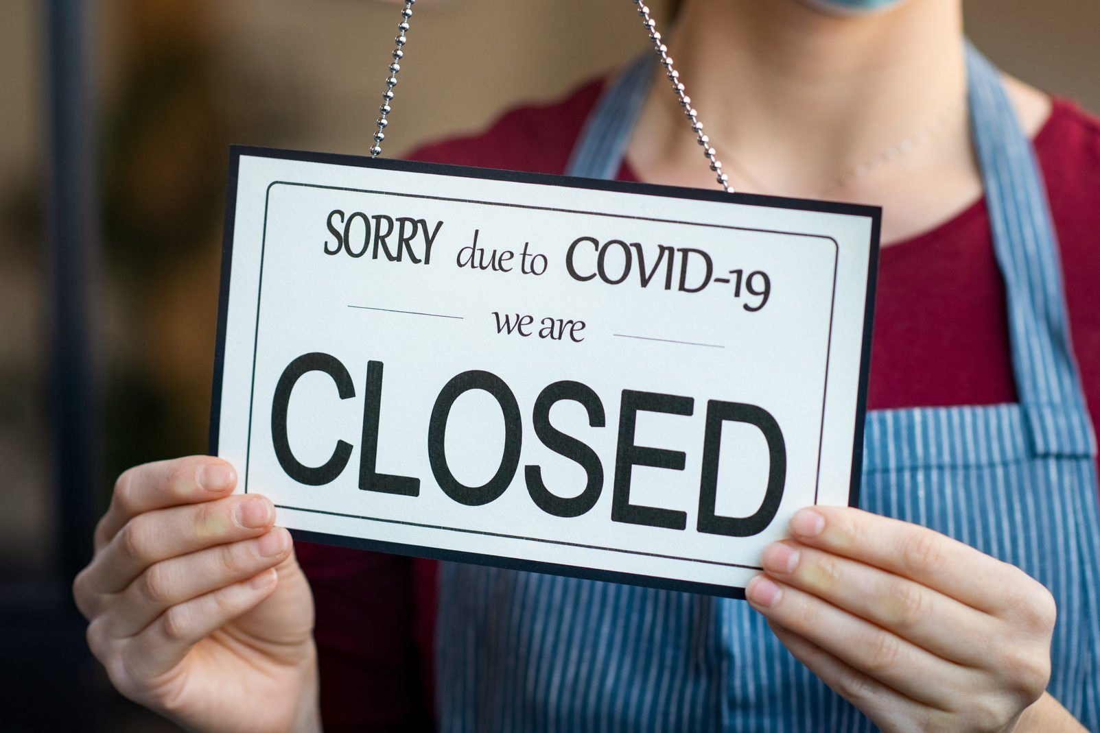 Small business closed for covid-19 lockdown