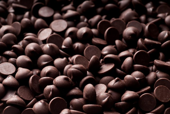 chocolate chips close up full frame