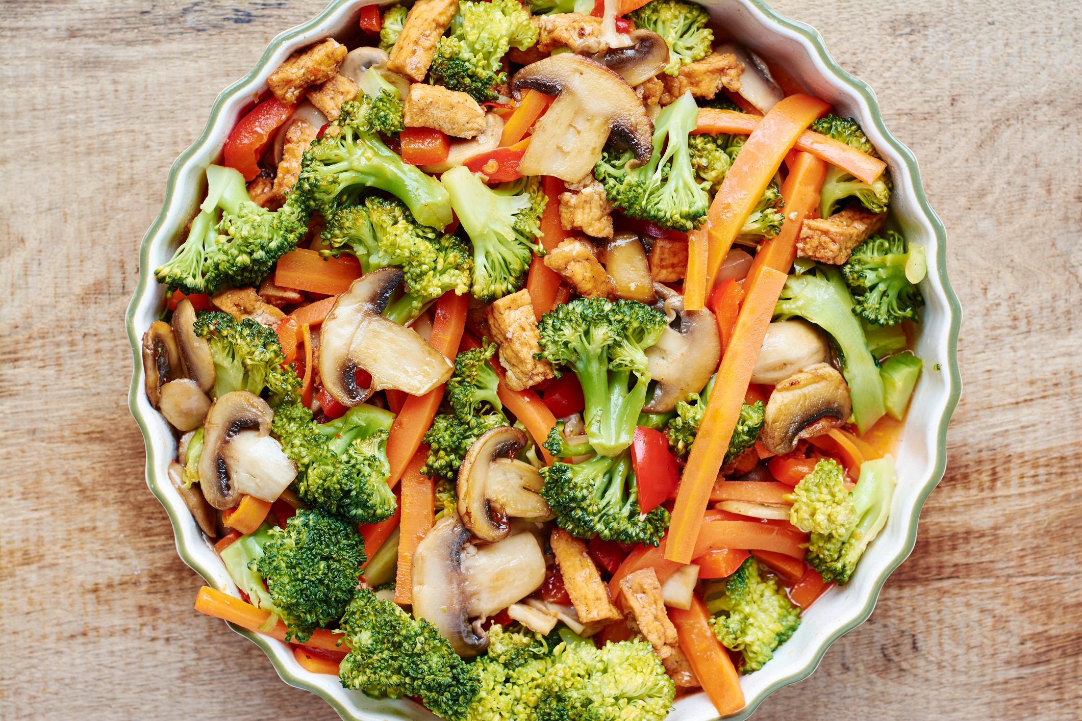 Broccoli, carrot, mushroom stir fry with tofu.