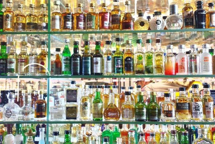alcohol bottles at a bar