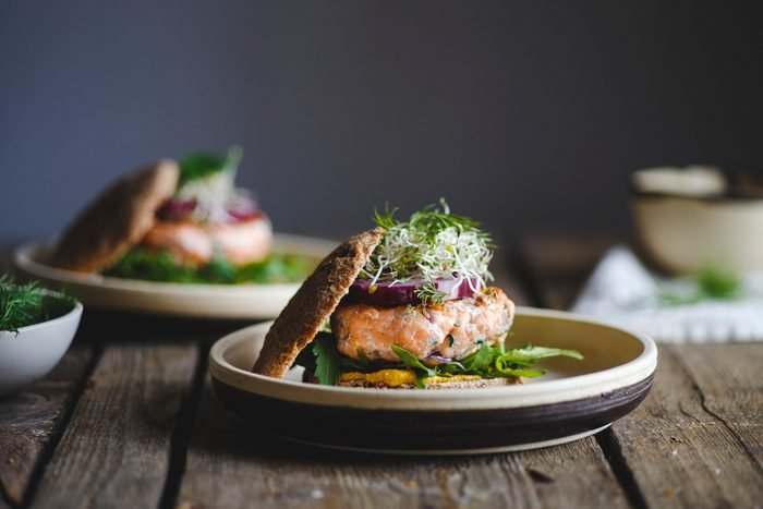 Salmon burgers for lunch