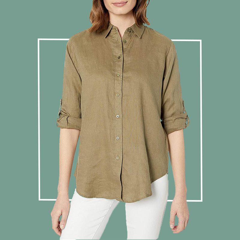 LAUREN Ralph Lauren Roll-Tab-Sleeve Linen Shirt