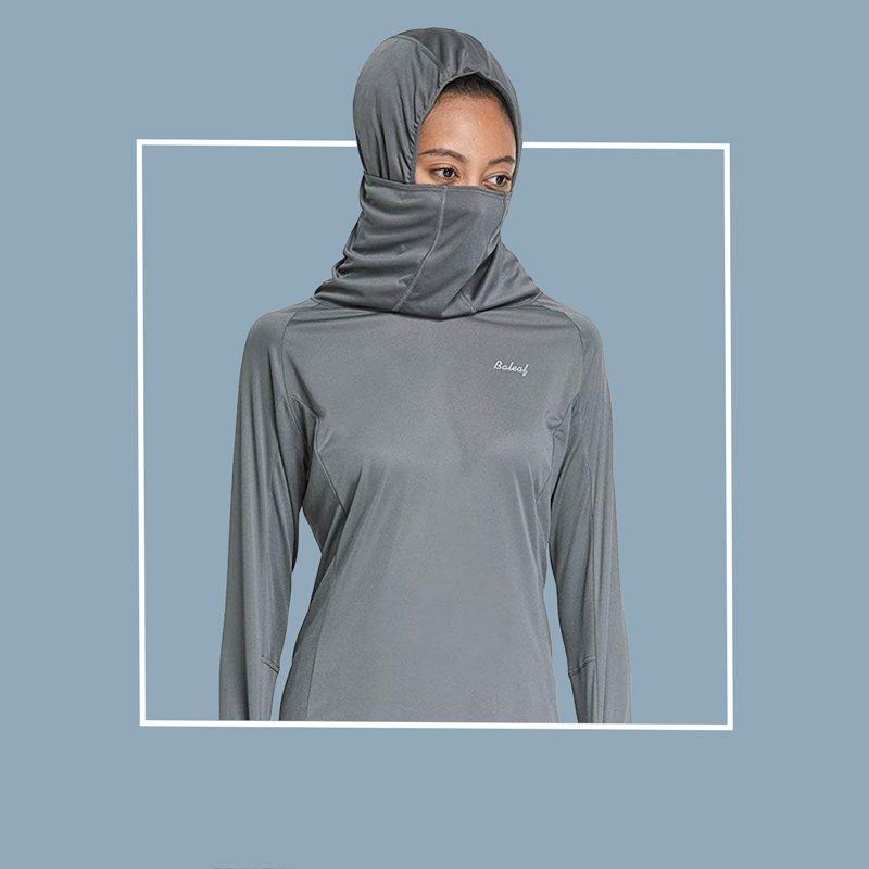 Hoodie with built-in filtered neck gaiter: Baleaf