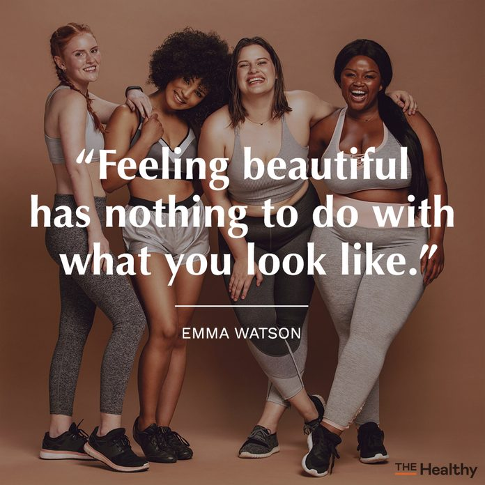 body positive quote on group of girls smiling