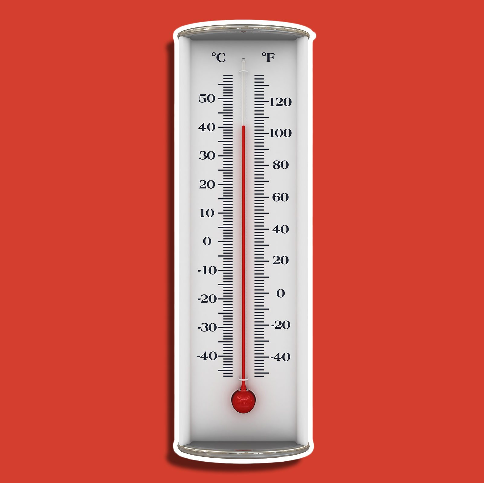 outdoor thermometer on red background
