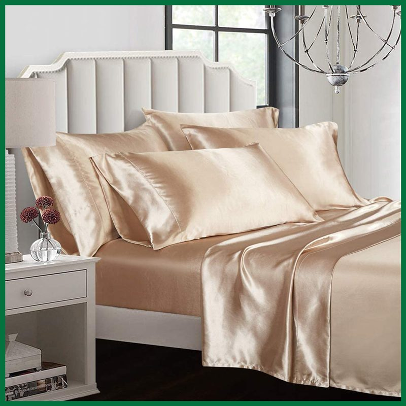 AiMay 6 Piece Silk Satin Bed Sheet Set