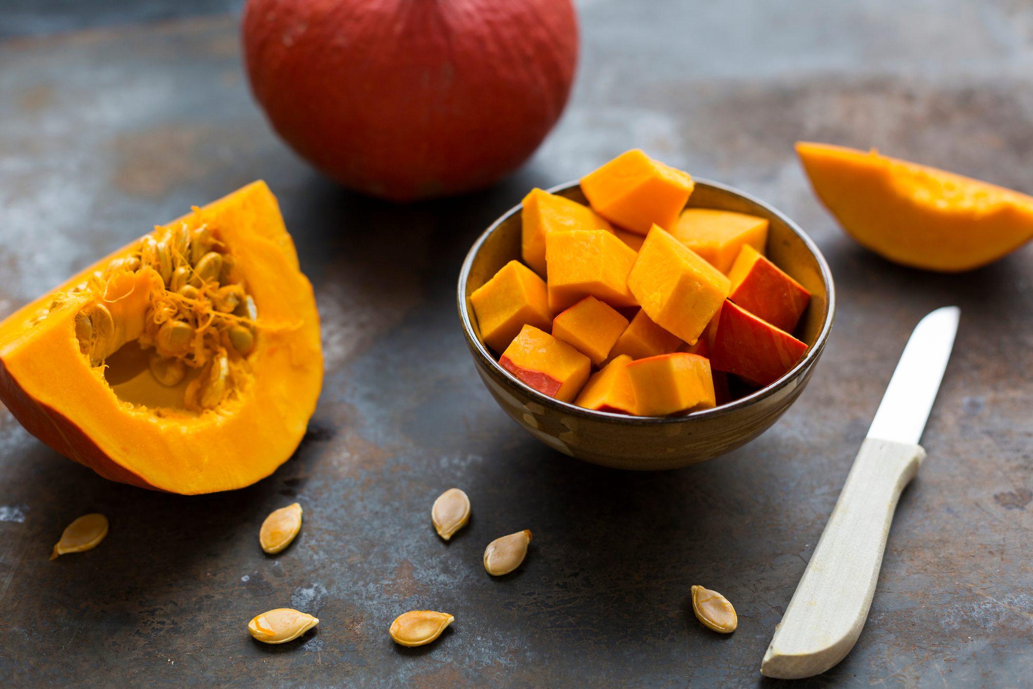 Preparing Hokkaido pumpkin for a pumpkin soup