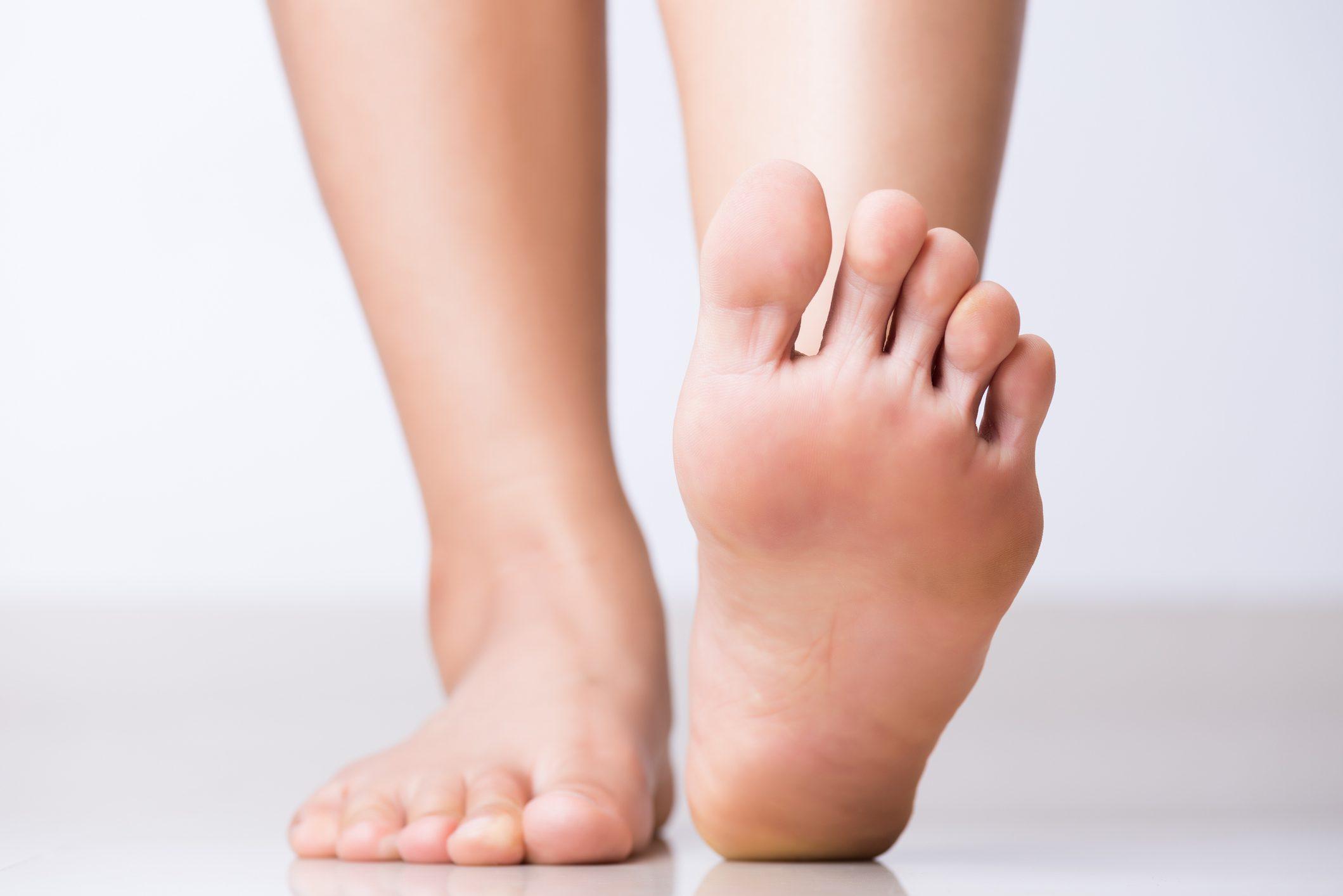 Closeup female foot Healthcare concept.