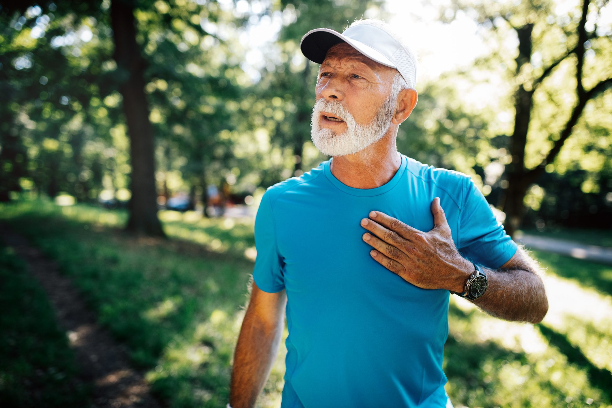 Mature man athlete with sore left chest pain dizziness