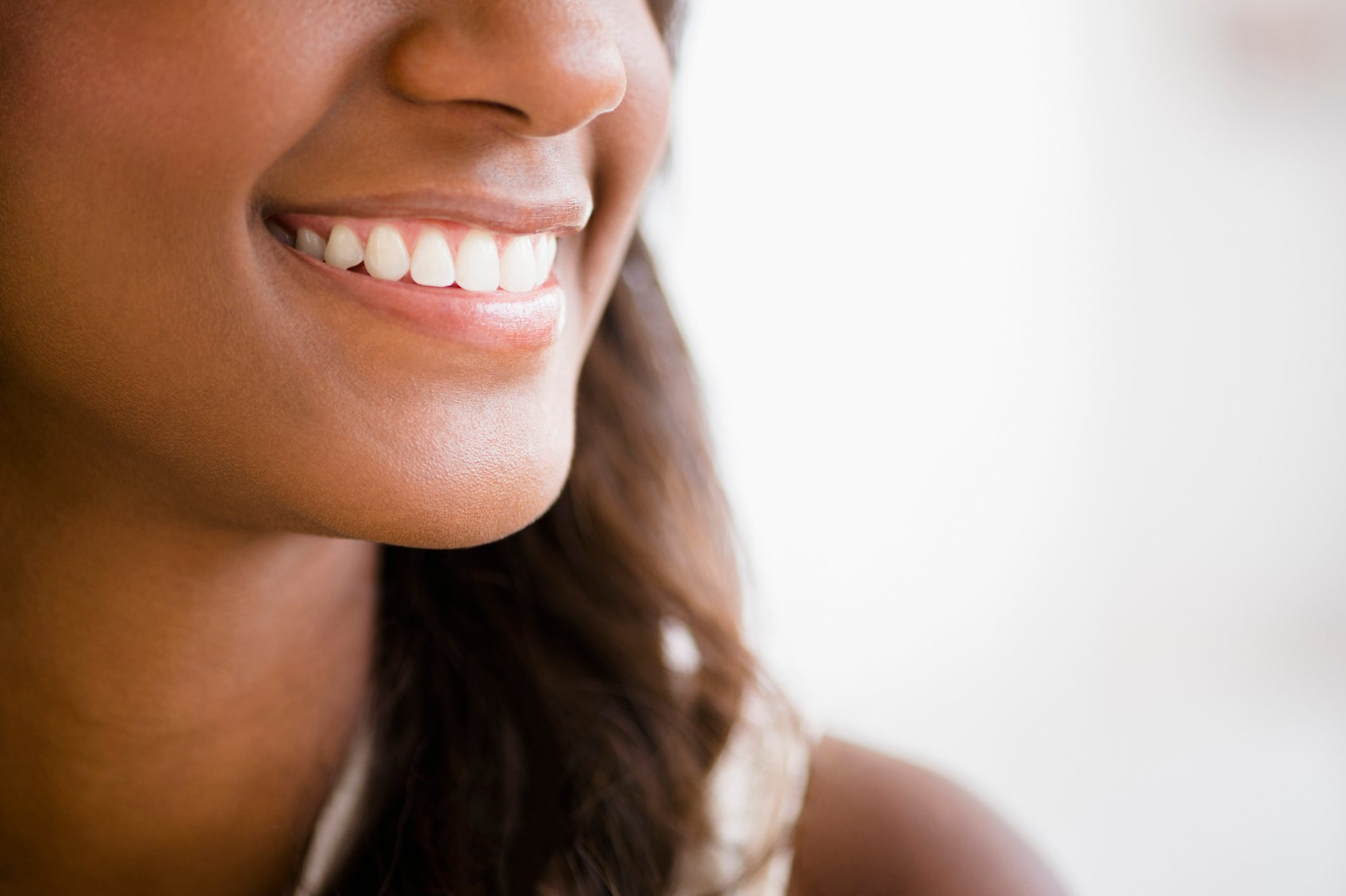 close up of woman smiling