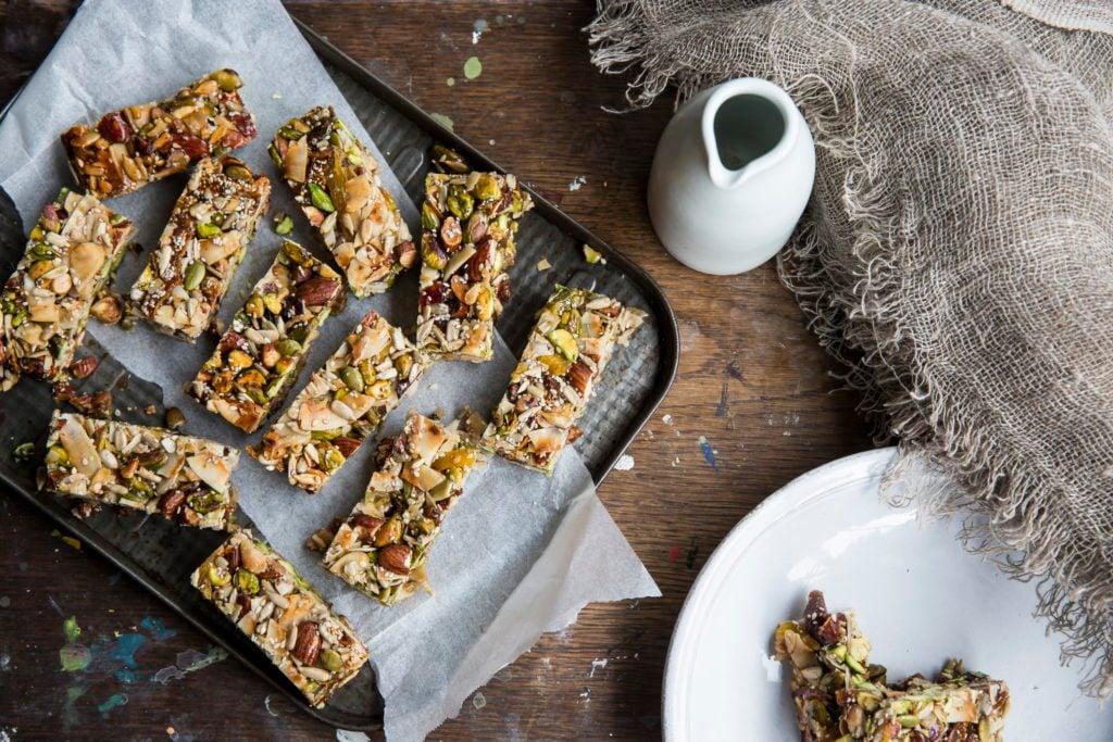 homemade protein granola bars overhead