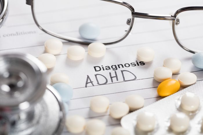 Pills;Glasses And Stethoscope With Text Diagnosis ADHD
