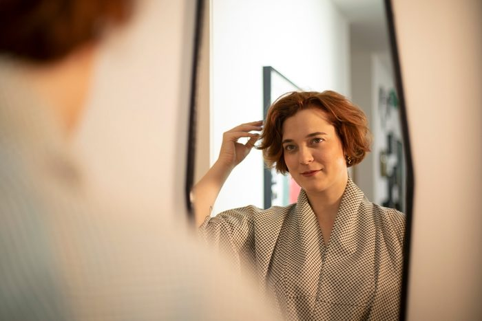 Woman getting ready before going out