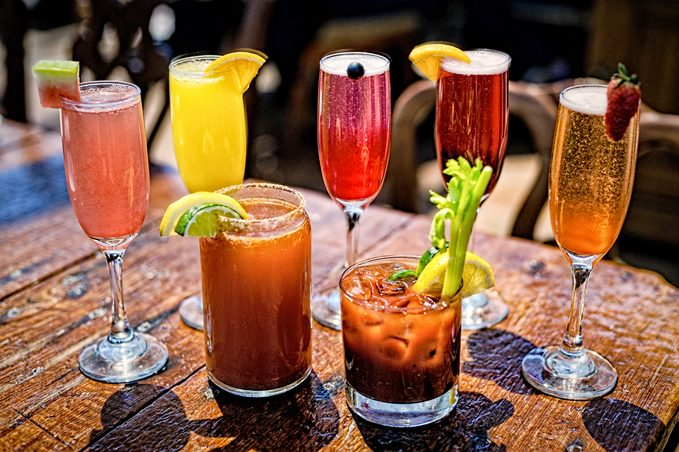 Assortment of Brunch Cocktails, Including Bloody Mary and Mimosas