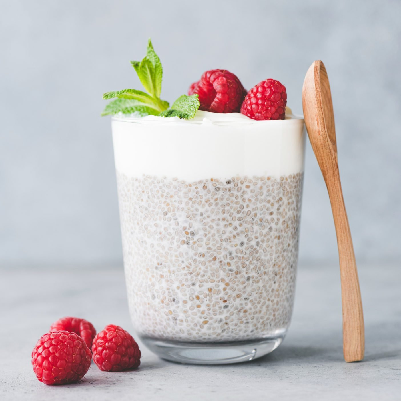 Chia Pudding Parfait With Yogurt And Raspberries