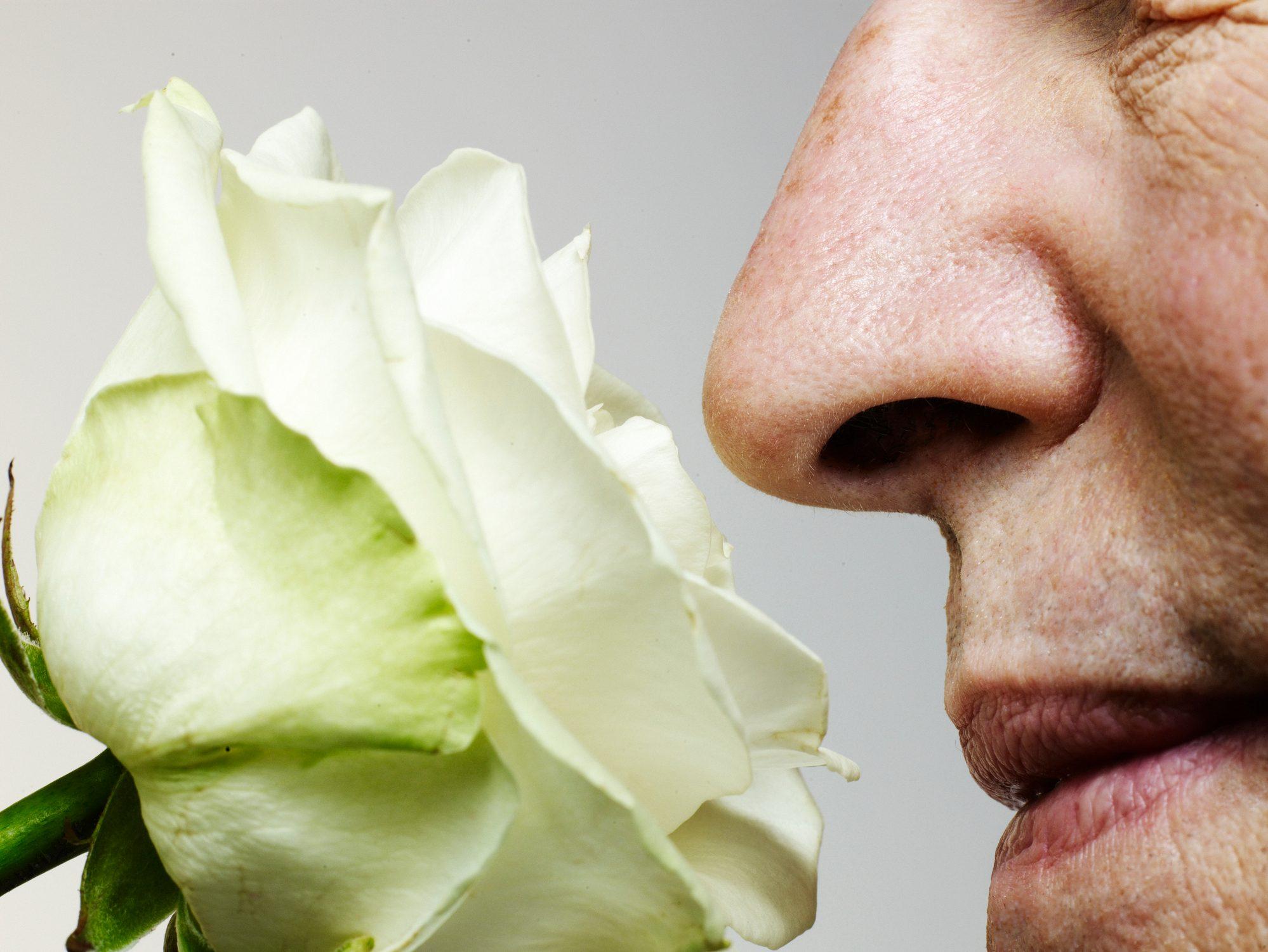man smelling rose, close-up