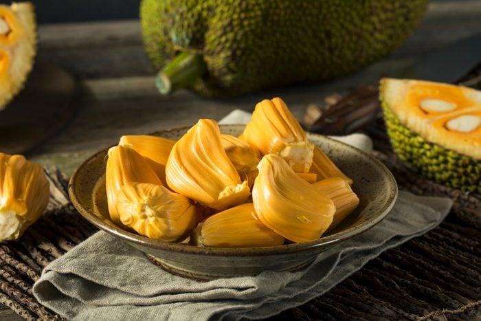 fresh jackfruit pieces in a bowl