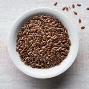 Close-Up Of Flax Seeds On Table