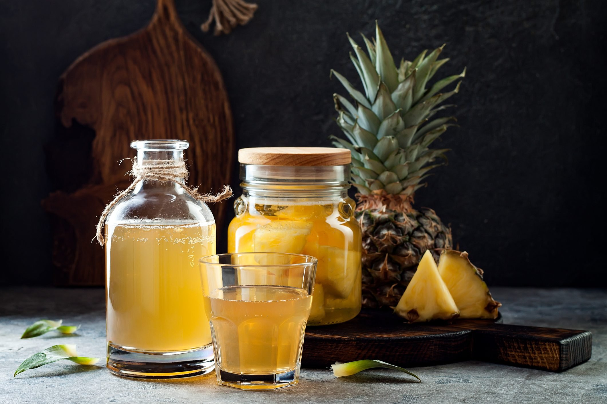 Fermented mexican pineapple Tepache. Homemade raw kombucha tea with pineapple. Healthy natural probiotic flavored drink.