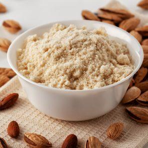 almond flour in white bowl