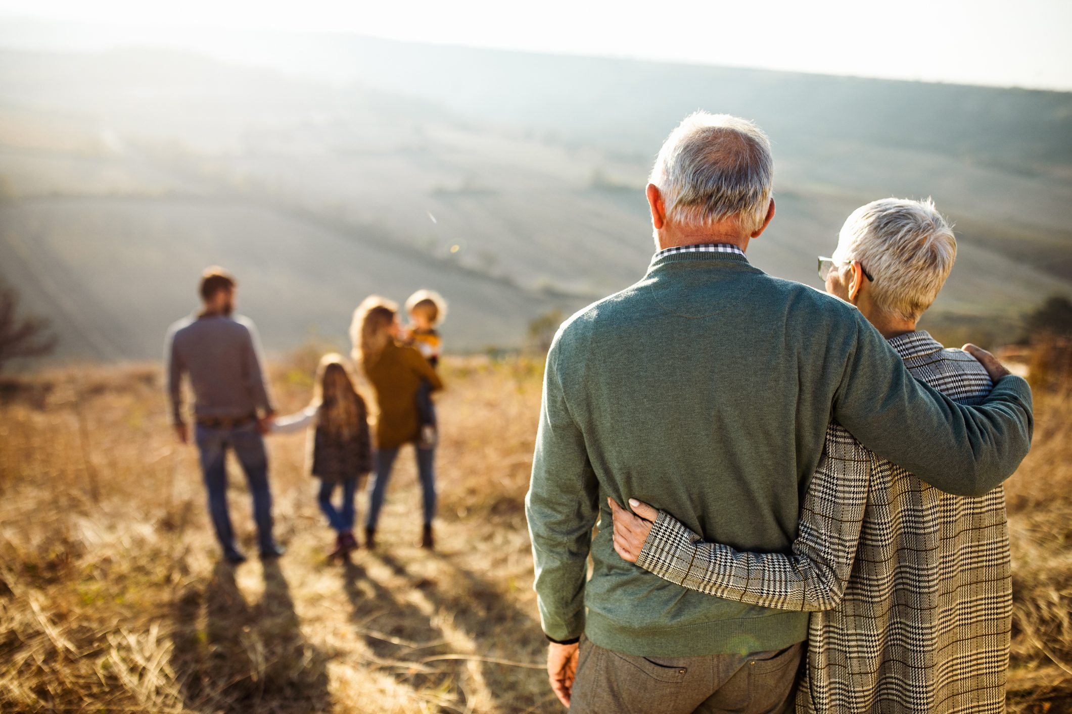 embraced senior couple looking at their family in nature
