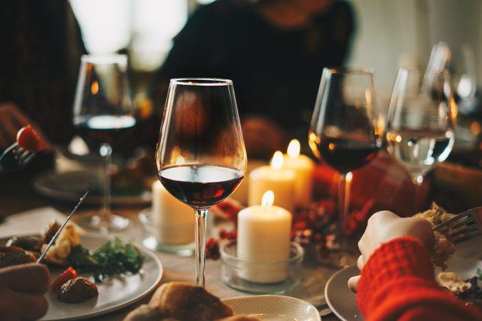 Friends enjoying a Christmas dinner together